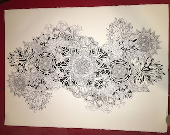 Pen and ink collage with mandalas