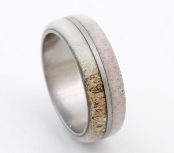 antler ring antler wedding band titanium wedding ring mens