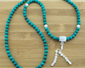 Turquoise Howlite Buddhist Prayer Beads Necklace with Ice Crystal Quartz | 8mm | 108 Mala Prayer Beads | Free Shipping