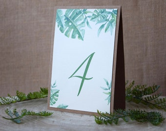 Botanical Wedding Table Numbers, Leafs Table Numbers, Botanical Leafs Table Numbers, Garden Wedding Table Numbers, Tropical Table Numbers