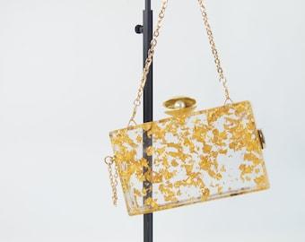 Tropical Shell Clear Acrylic Box Clutch Bag