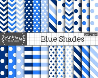 24 x Blue Digital Papers, Blue Polka Dots, Spots, Blue Chevrons, Blue Stripe, Digital Scrapbooking Paper, Instant Download, Commercial Use