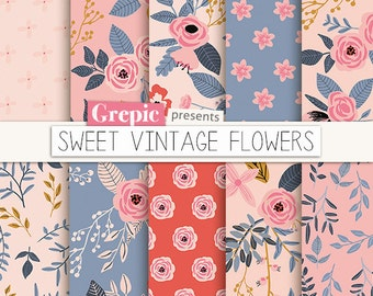 "Flower digital paper: ""SWEET VINTAGE FLOWERS"" vintage flowers, hand drawn, patterns, floral background, romantic, flower pattern, summer"