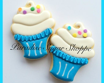 One dozen cupcake decorated cookies