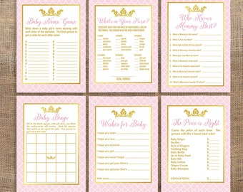 Princess Baby Shower Games Package, Six Baby Girl Shower Games Bundle, Pink and Gold, DIY Printable, INSTANT DOWNLOAD
