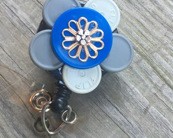 Name badge reel nurse badge recycled medication caps badge holder blue