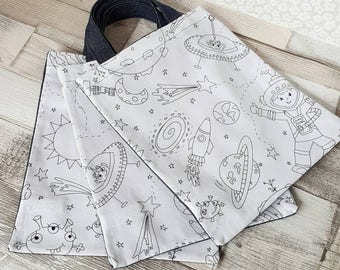 Colour me in bag, children's doodle bag, colouring bag, design your own bag, colour in tote, kids space bag, ce mark, mindfulness