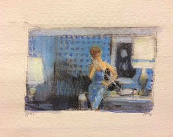 Phone call, crayon and watercolor on drypoint