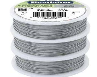 Beading Wire for Beads Beaded Wire Crafts // Beadalon Wire 7 Strand .015 dia. 30 Ft. OR 100 Ft. Stainless Steel .015 aka 0.38mm BRIGHT
