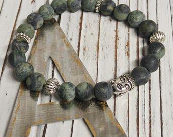 Frosted Rhyolite Jasper Stone Bracelet, Meditation, Stackable, Stretch Bracelet, Boho, Natural Stone, Buddha Charm