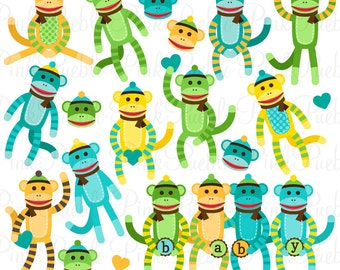 Gender Neutral Baby Shower Sock Monkeys Clipart Clip Art, Great for Sock Monkey Baby Shower Invitations - Commercial and Personal Use