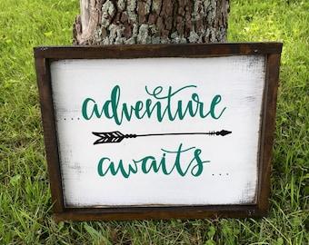 Adventure Awaits Wood Sign - Woodland Nursery Decor - Adventure Sign