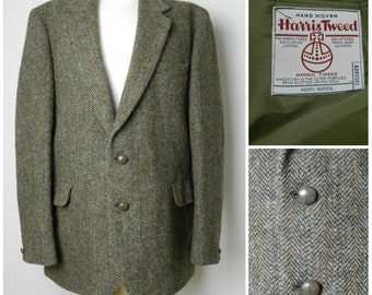 Mens 70s 80s Classic Harris Tweed Wool Jacket Green Brown and Golden Yellow Herringbone 44'' chest