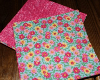 Shabby Chic Reversible Cloth Napkins - Set of 4