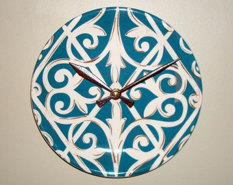 Teal and Cream Patterned Plate Wall Clock, 8-3/8 Inch Ceramic Plate Clock, Kitchen Decor - 2463