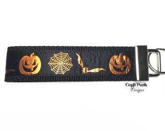 Foil Halloween Keychain, Spider Web, Pumpkin, Bats, Keychain Wristlet, Horror Keychain, Goth