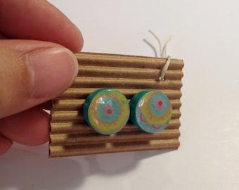 Cute Stud Earrings - Pastels - Wooden Earrings - Faux Plugs - Colorful Prints