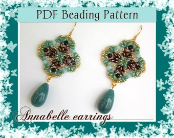 DIY Beading pattern Annabelle earrings with Superduo beads / PDF tutorial with detailed instructions, images and diagrams