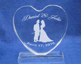 Firefighter Crystal Wedding Cake Topper Personalized