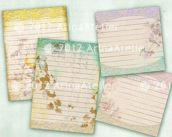 Shabby Chic Postcards Tags - Journaling Spots - Digital Collage Sheet - Set of 2 Sheets