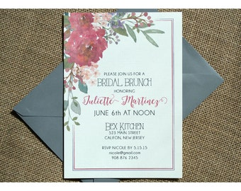 Watercolor Flowers Bridal Shower - Bridal Shower Invitations - Framed Shower Invite with Water Color Flowers - Rose - Peony - Forget Me Nots