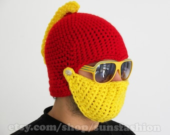 Knight Helmet Hat Crochet Slouch Mens Iron Man colors Red Yellow Handmade Winter Men Snowboard Ski Hat unisex