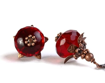 Red Czech glass rondelle with antiqued copper earrings READY to Ship (238)