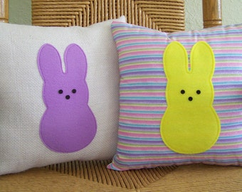 Easter decor, Peeps pillow, Bunny pillow, Spring pillow, Easter pillow, burlap pillow, FREE SHIPPING!