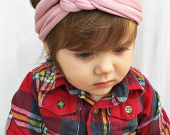 Rose pink baby sailors celtic knot - pink newborn headwrap - turbans for tots