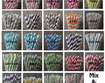 Paper Straws ~ Party Straws ~ Drinking Straws ~ 100 Your Color / Pattern Choice
