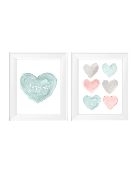 Teal and Blush Children's Wall Decor, 11x14-Set of 2 Personalized Prints