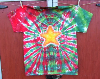 Christmas Tie Dye T-shirt - Star on Red and Green - ADULT sizes S, M, L, XL, 2XL- Made To Order