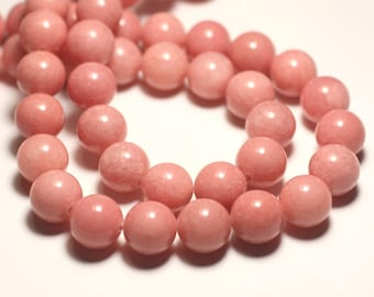 8pc - jade stone - 12mm pink coral peach - 8741140016682 balls