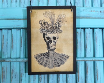 Wood Plaque Sign Lady Skull Skeleton Halloween Grunge Primitive Style Image Wall Decor Wall Hanging