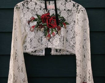 Shawna's sheer vintage lace shrug.