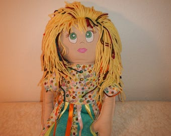 Heirloom, handmade, ragdoll, upcycled materials
