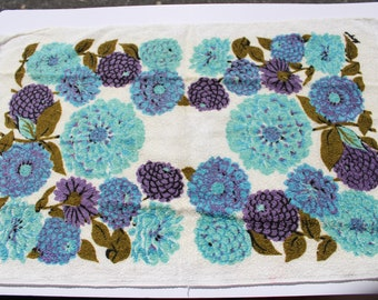 "Vintage Purple Blue Flower Terry Cloth Dish Towel,  26"" x 18"", 70s 1970s Retro Mod Mid Century Kitchen Towel"