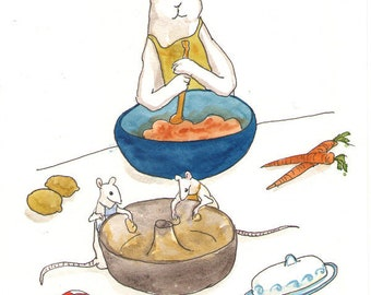 Reserved - Original Watercolor Rabbit Painting - Mixing the Batter