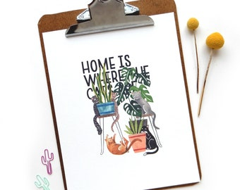 Home is Where the Cats Are Watercolor Quote Print | Watercolor Art Print Cats Illustration