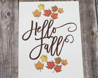 Hello Fall Printable, Fall Decorating, Home Decor Printable, 8x10, Fall, Autumn, Seasonal Decor, Downloadable