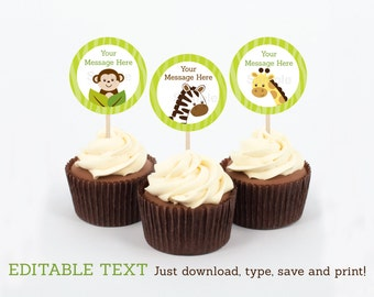 Cute Jungle Animal Cupcake Toppers / Jungle Animal Baby Shower / Safari Baby Shower / Safari Birthday / INSTANT DOWNLOAD Editable PDF A311