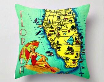 Sunny Florida Pillow Cover, Retro Florida Pillows, Florida Gift, Beach Throw Pillow, Retro Florida Map Pillow Aqua Throw Pillow