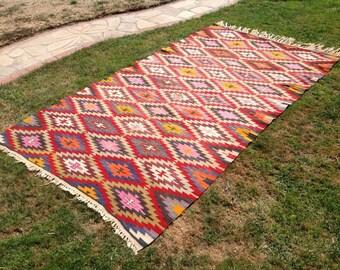 Diamond design Kilim rug, 116'' x 67'' Vintage Turkish rug, rugs, area rug, vintage rug, bohemian rug, eccentric rug, anatolian rug, rug,703
