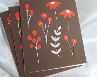 Wildflowers notecards pack of 3 - 3.25x4 inches A1 no envelopes - blank inside greeting cards set of three - brown orange ivory all occasion