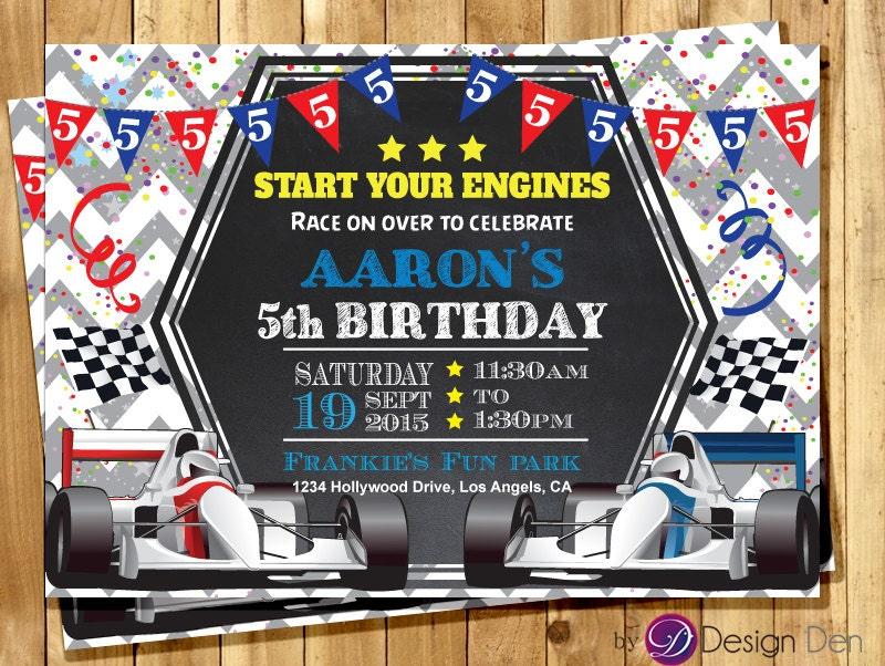 Racing Car Birthday Invitation Formula-1 Birthday Invitation