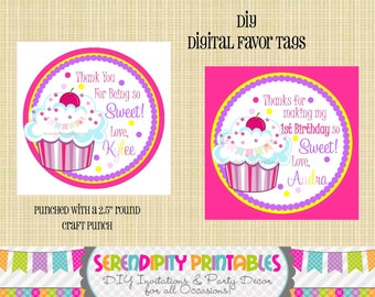Pink and Purple Cupcake Collection: Digital Favor Tags