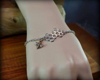 Sterling silver honeybee bracelet