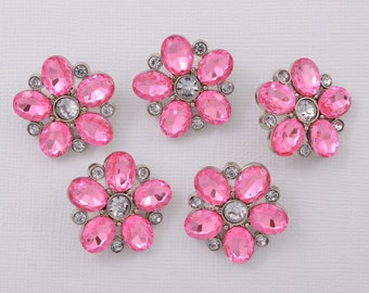5 pc Buttons - Pink Rhinestone Buttons Pink Button Craft Supplies