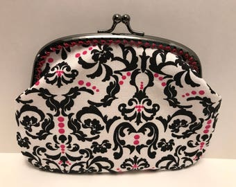 Large Pink and Black damask Coin Purse