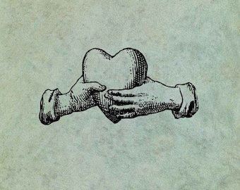 Hands Holding A Heart - Antique Style Clear Stamp